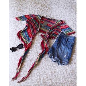 ONLY multicolor striped wrap tie cardigan